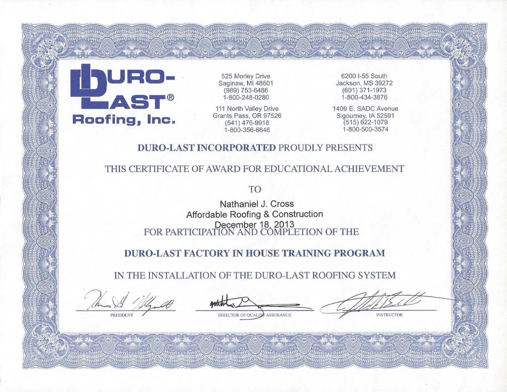 Certifications affordable roofing construction duro last certified for pvc metal installation xflitez Gallery